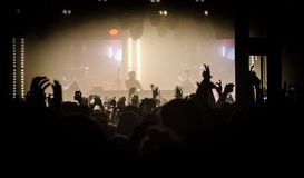 Concert scene. In silhouettes on the whole stage Royalty Free Stock Image