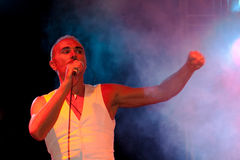 Concert Scialpi. Concert by a famous Italian singer named Scialpi with his band performed during the annual feast of sausages in a small town in Italy by the Stock Image