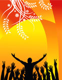 Concert silhouette background. A colorful background of the silhouettes of a concert performer and cheering audience hands on a bright orange and yellow Royalty Free Stock Photos