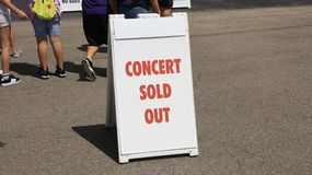 Concert, Sold Out. Sold out concert event, a concert is a musical venue where a band sings and performs top pop, R&B, country, rock and alternative music royalty free stock images