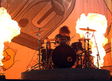 Concert sous tension de batteur d'Andy Hurley Fall Out Boy Photos stock