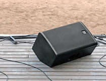 Concert speaker system, wires, microphone Royalty Free Stock Image