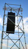 Concert speakers. Shel metal concert speakers with sky in background Stock Images