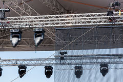 Concert spotlights on outdoor stage Royalty Free Stock Images