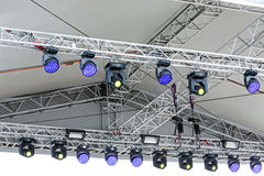 Concert spotlights on outdoor stage Royalty Free Stock Photography