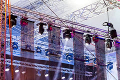 Concert spotlights on outdoor stage Stock Photography