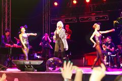 Concert stage. ISTANBUL - SEPTEMBER 18: Pop star Ajda Pekkan performs live during a concert at Maltepe on September 18, 2011 in Istanbul, Turkey. Concert stage Stock Image