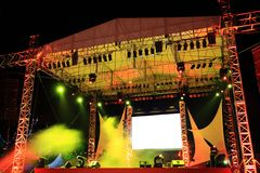 Concert    stage. Beautiful  colourful   lighting  brighting  the   concert    stage Royalty Free Stock Photography