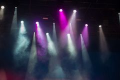 Concert stage. Beautiful Colourful disco lighting in the stage. Performance moving lighting. Concert Light Show. Stage Lights Royalty Free Stock Photos