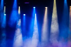 Concert stage. Beautiful Colourful disco lighting in the stage. Performance moving lighting. Concert Light Show. Stage Lights Royalty Free Stock Image