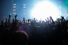 Concert Stage Lights And Crowd On Dance Floor Partying To The Music Stock Images