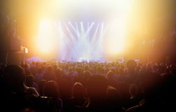Free Concert Stage Lights And Crowd On Dance Floor Partying To The Music Stock Photo - 154394640