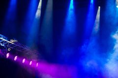Concert stage.Stage Lights. Colorful background of stage lights. Concert stage. Beautiful Colourful disco lighting in the stage. Performance moving lighting stock image