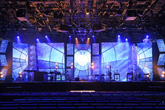 Concert Stage With Lights and Musical Instruments Royalty Free Stock Photo