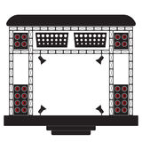 Concert stage and musical equipment. Illustration on a light background. Concert stage and musical equipment. Vector iilustration. Illustration on a light Stock Photos