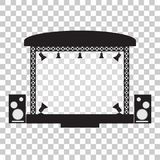 Concert stage and musical equipment simpl flat design. Vector illustration Royalty Free Stock Images