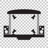 Concert stage and musical equipment. Transparent background. Concert stage and musical equipment. Vector illustration. Transparent background Stock Photos