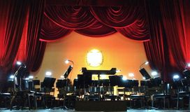 Concert stage orchestra. Opera concert stage for orchestra and singers royalty free stock image