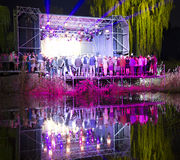 Concert stage in the pond Stock Photos