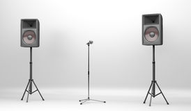 Concert stage with speakers and microphone. Concert stage equipped with two big speakers and a microphone with stand Stock Photos