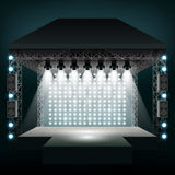 Concert stage with spotlights. Vector illustration Royalty Free Stock Photography