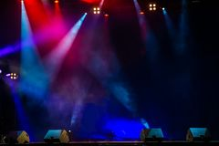 Concert stage. Stage Lights. Colorful background of stage lights. Concert stage. Beautiful Colourful disco lighting in the stage. Performance moving lighting royalty free stock images