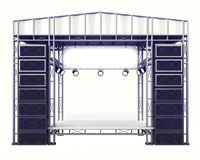 Concert stage steel construction with speakers on white. Illustration Stock Photography
