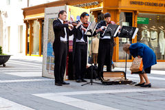 Concert in the street of Violinists. Trieste Stock Images