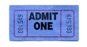 Concert-Ticket. A Blue Admit-One-Ticket Stock Image