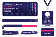 Concert ticket, bracelets, lanyards, identification card for access control to event. Festival wristband, web banners. For event advertising. Vector Stock Images
