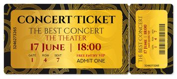 Concert ticket, golden token tear-off ticket, coupon with curve pattern. Useful for any film festival, party, cinema, event, entertainment show, Cinema Ticket Stock Images