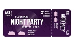 Concert ticket template. Concert, party or festival ticket design template with people crowd on background. Entrance to dj party. Vector Stock Photo