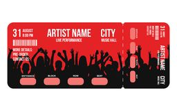 Concert ticket template. Concert, party or festival ticket design template with people crowd on background stock illustration
