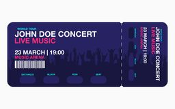 Concert ticket template. Concert, party or festival ticket design template with people crowd on background. Vector stock illustration
