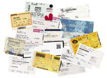 Concert tickets. LONDON, UK - JANUARY 30, 2014: Illustrative editiorial set of vintage concert tickets including Pink Floyd, Leonard Cohen, Einstuerzende Royalty Free Stock Image