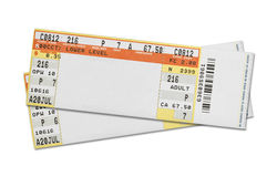 Concert Tickets. Pair of Blank Concert Tickets Isolated on White Background Royalty Free Stock Images