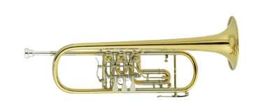 Concert trumpet. On white background Stock Photos