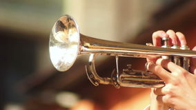 Concert trumpet man music. Man blowing cheeks playing the trumpet on concert stock video
