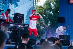Concert of the Ukrainian rap artist Yarmak May 27, 2018 at the festival in Cherkassy, Ukraine.  Royalty Free Stock Image