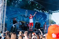 Concert of the Ukrainian rap artist Yarmak May 27, 2018 at the festival in Cherkassy, Ukraine.  Stock Photos