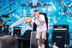 Concert of the Ukrainian rap artist Yarmak May 27, 2018 at the festival in Cherkassy, Ukraine.  Royalty Free Stock Photo