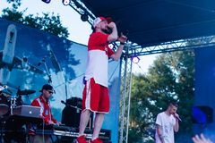 Concert of the Ukrainian rap artist Yarmak May 27, 2018 at the festival in Cherkassy, Ukraine.  Royalty Free Stock Photos