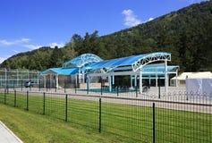 Concert venue in the tourist-recreational special economic zone. Biryuzovaya Katun. Altai. Russia Royalty Free Stock Image