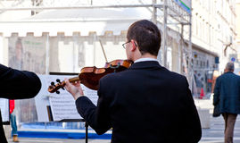 Concert Violinists. Concert in the street of Violinists, Trieste Stock Photos