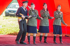 A concert of war songs in the Kaluga region in Russia. Stock Images