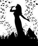Concert2. The woman the singer sings at a concert. A  illustration Stock Photo