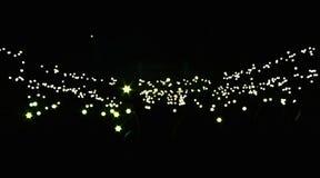 Concerti il pubblico e le luci nei precedenti Immagine Stock