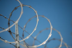 Concertina razor and barbed wire fence Royalty Free Stock Photo