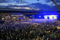 Concerto allo stadio in Ucraina Fotografia Stock