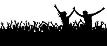 Concerto da dança de fãs, disco Silhueta alegre da multidão Os povos do partido, aplaudem Pares novos em um partido ilustração do vetor
